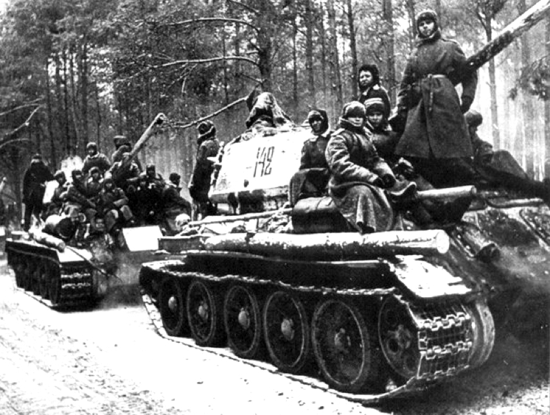 Column of Soviet tanks T-34-85