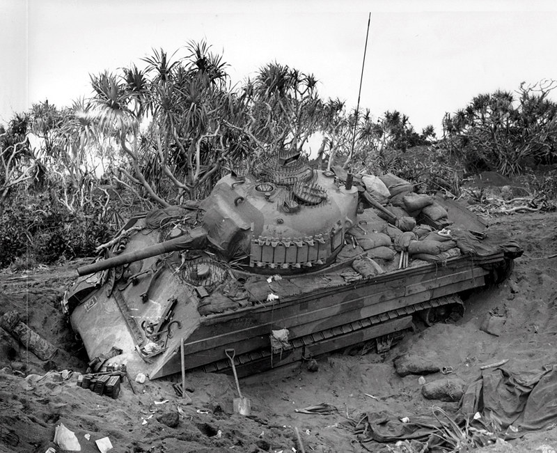 An M4 Sherman stuck in the volcanic sands