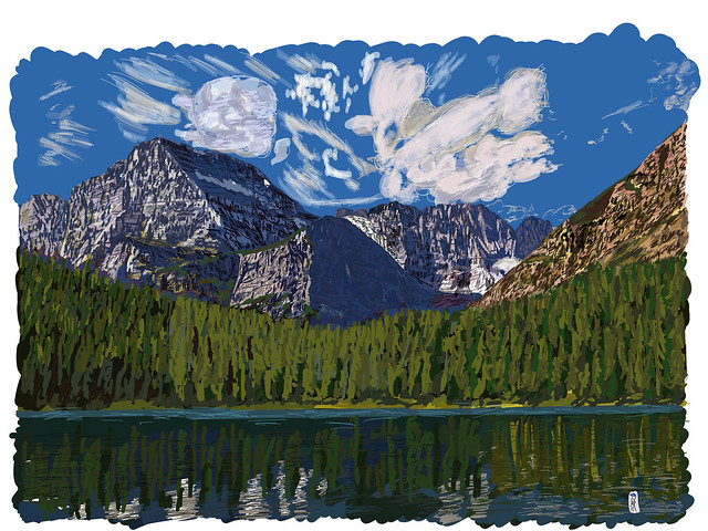 My Drawings - Glacier National Park Mount Gould