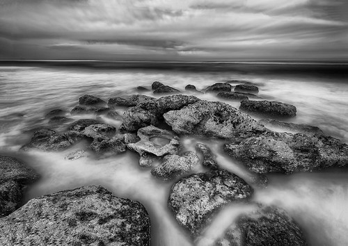 bw black blackandwhite centralflorida cloud florida landscape longexposure lowlight marineland nighttime ocean sky usa water white rock palmcoast edrosackcom