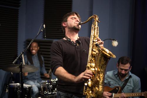 Walter Lundy, Brad Walker, and Danny Abel of the Noah Young Band. Photo by Ken Maldonado.