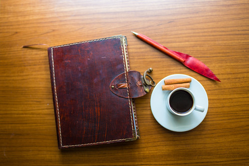 Coffee, Pen, Blog Notebook - Just Add Text  (free CC usage with credit link to LiveWildPhotos.com) | by liveoncelivewild