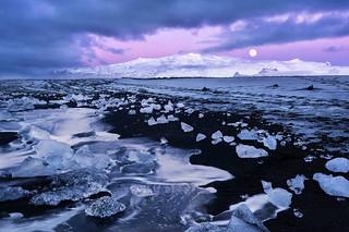 Moonset at Ice Beach