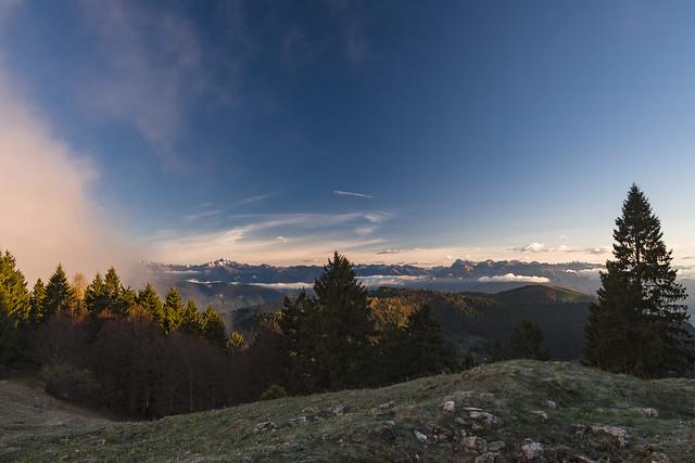 Vista verso Cima d'Asta e Cimon della Pala, dal Monte Grappa