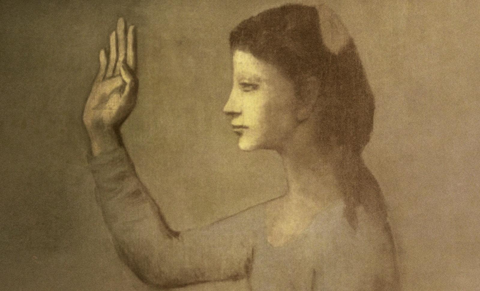 Dama del Abanico, perceptualización de Pablo Picasso (1906), geometrización de Roberto Real de León (2012).