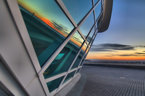 saturday sunrise lake michigan milwaukee art museum mam wisconsin sheldn sky blue orange reflection window calatrava architecture canon t2i 550d hdr morning early tamron 1024 tamron1024 copyrightdanielsheldon danielsheldon sheldnart allrightsreserved wi copyright sheldon danieljsheldon rebel eos 550 license