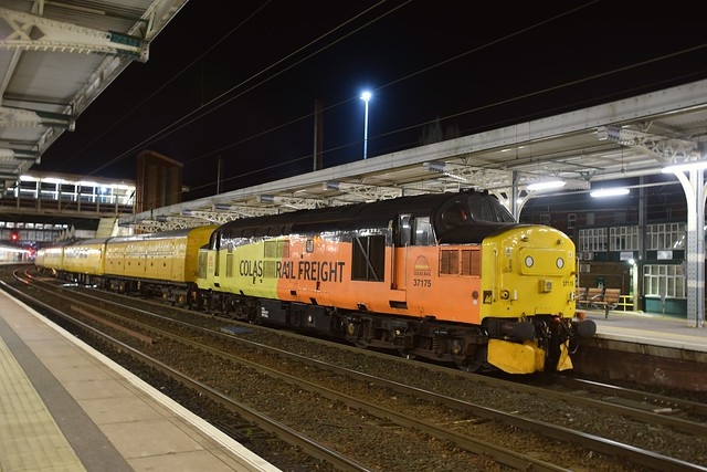 Colas Loco 37175 will lead out of Ipswich, with a Cambridge - Peterborough Track Testing Train, on a varied route around the region, after reversing direction here. 31 03 2017