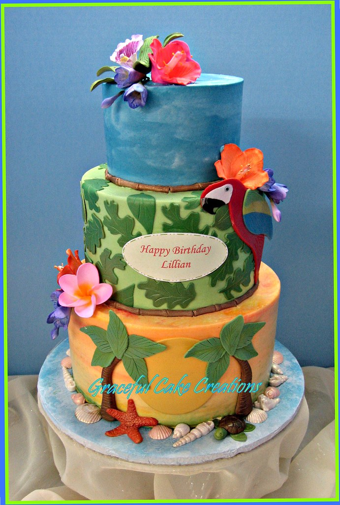 Remarkable Tropical Hawaiian Birthday Cake Grace Tari Flickr Personalised Birthday Cards Epsylily Jamesorg