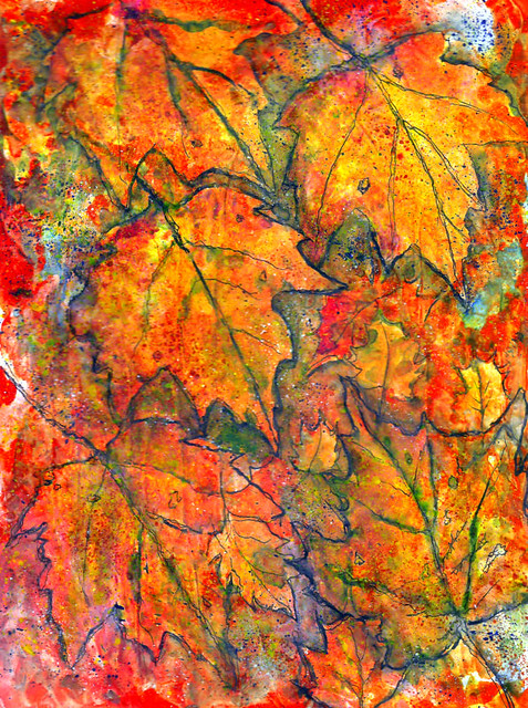 FALLING LEAVES IN MIXED MEDIA PAINTING