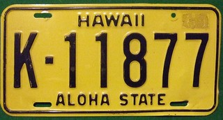 HAWAII 1969---LICENSE PLATE FROM KAWAI ISLAND