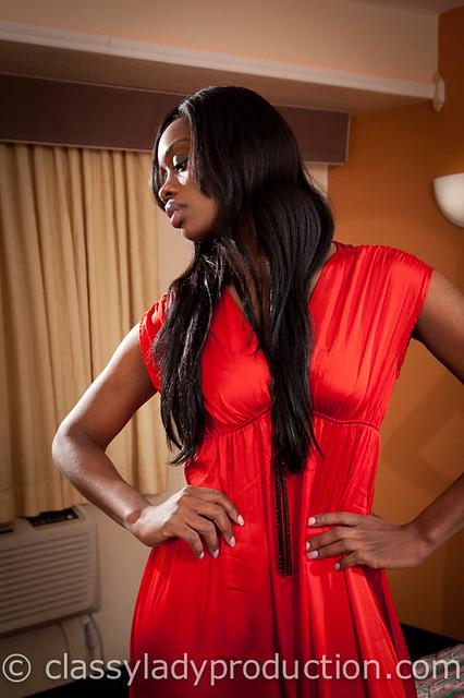 ebony in a red dress