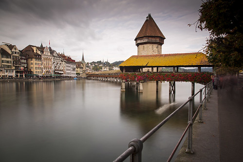 The Kapellbrücke and the Reuss river of Lucerne, Switzerland   by Tim van Woensel