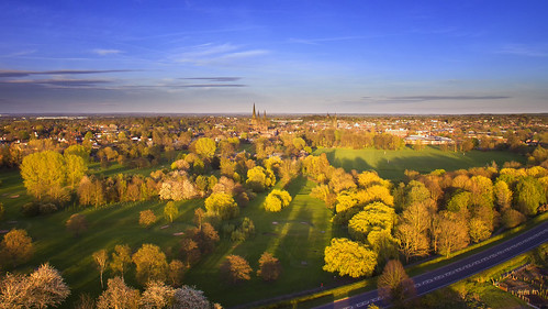 goldenlichfield golden lichfield evening sunset spring djiphantom3 drone high altitude shadows