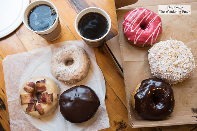 Partial spread of our doughnuts and coffee