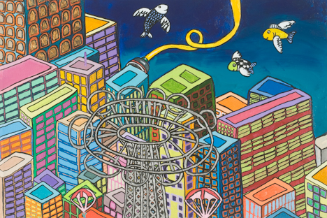 "Chelsea Parachute Jump (Top) with Flying Fish (16"" x 24"" acrylic on canvas)"