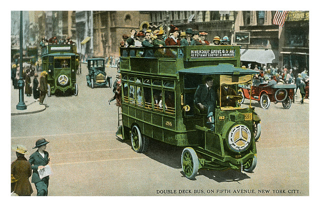 Postcard of a double decker bus on 5th Avenue