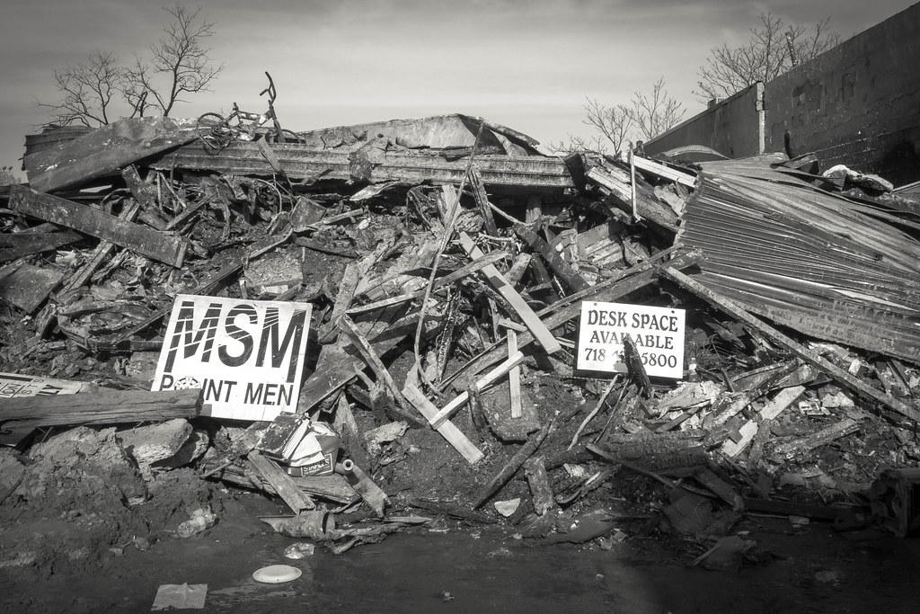 Destruction after Hurricane Sandy in Rockaways, Queens.