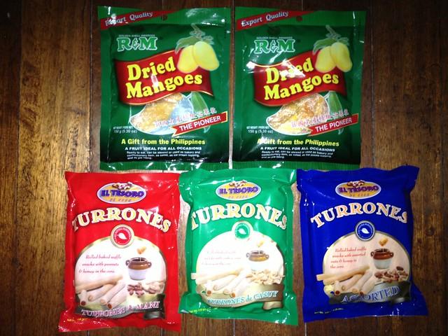 R&M Dried Mangoes and El Tesoro Turones of different flavors from Cebu! Turones de Mani, Turones de Casuy, etc.