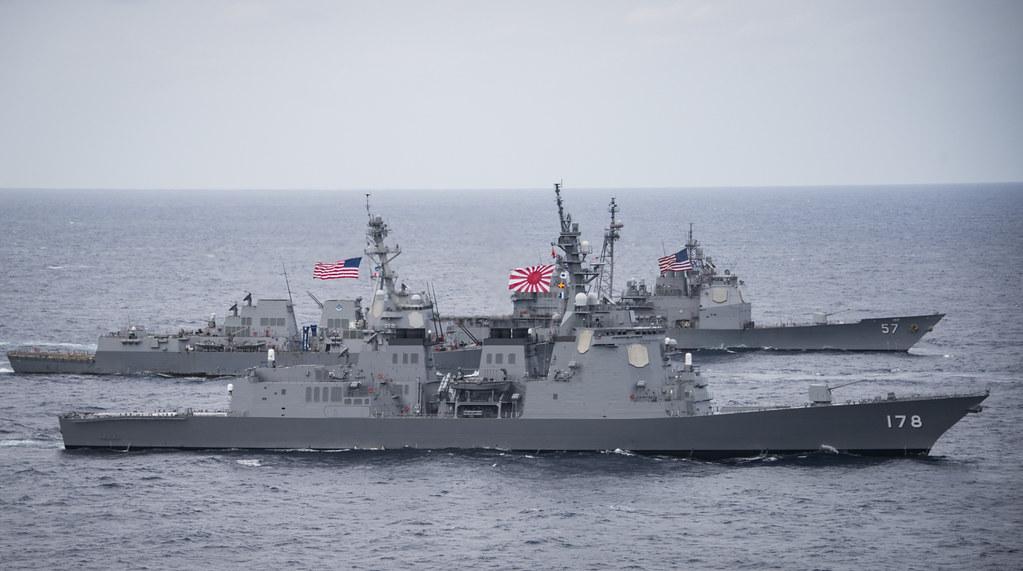U.S. Navy and JMSDF ships tran...