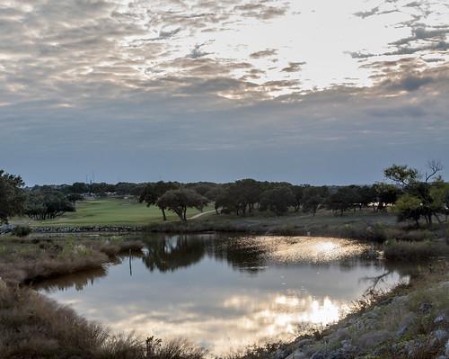 trees sunset sky sun lake water grass set creek canon golf eos course bcl brushy 50d