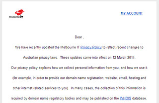 Melbourne IT: New privacy policy | by Daniel Bowen