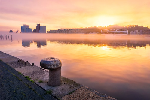 flensburgerförde architecture beautifulview buildings burningsky city clouded cloudy flensburg fog foggy harbor harbour landscape morning nature ocean reflection sea seascape sky summer sun sunrise water waterscape weathertimeofday