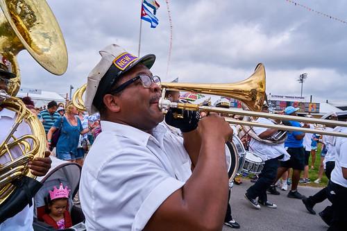 New Wave Brass Band on April 28 2017 Day 1 of Jazz Fest. Photo by Eli Mergel