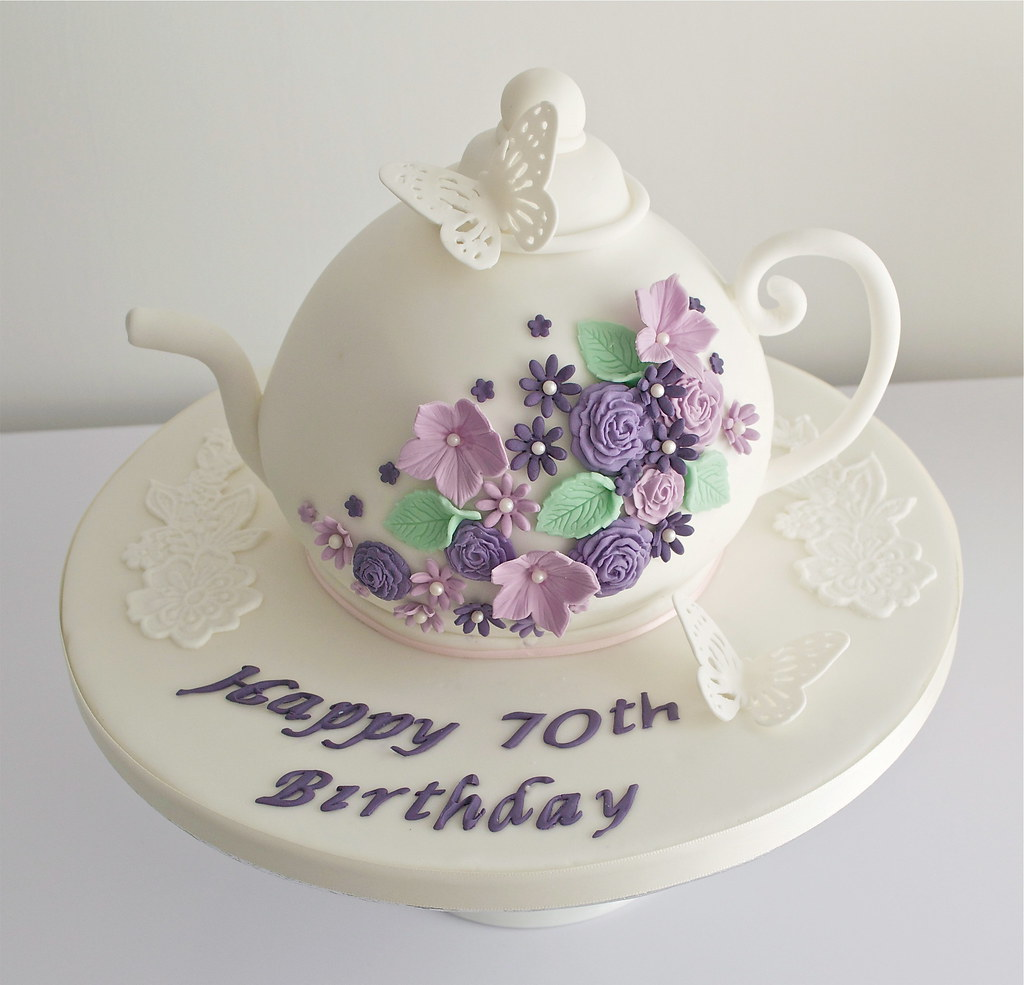 Amazing Teapot 70Th Birthday Cake Charlotte Flickr Personalised Birthday Cards Cominlily Jamesorg