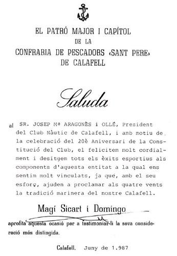 Salutació de  Magí Sicart, president del Pòsit, any 1987 al 20è aniversari.