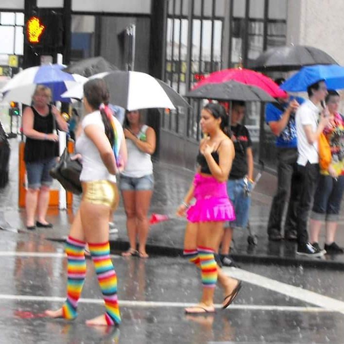 Cincinnati ohio lgbt gay pride parade downtown rain