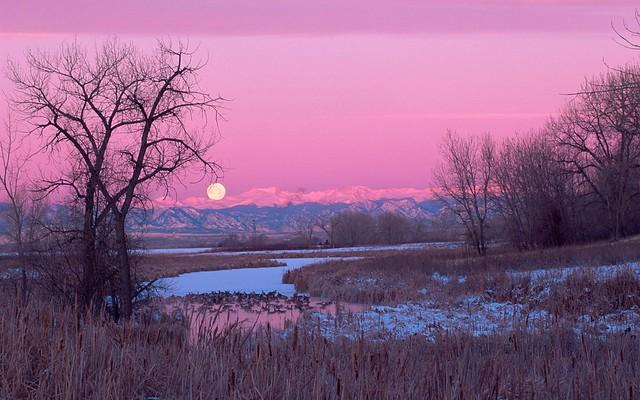 Moonset Over Lake Ladona, Colorado
