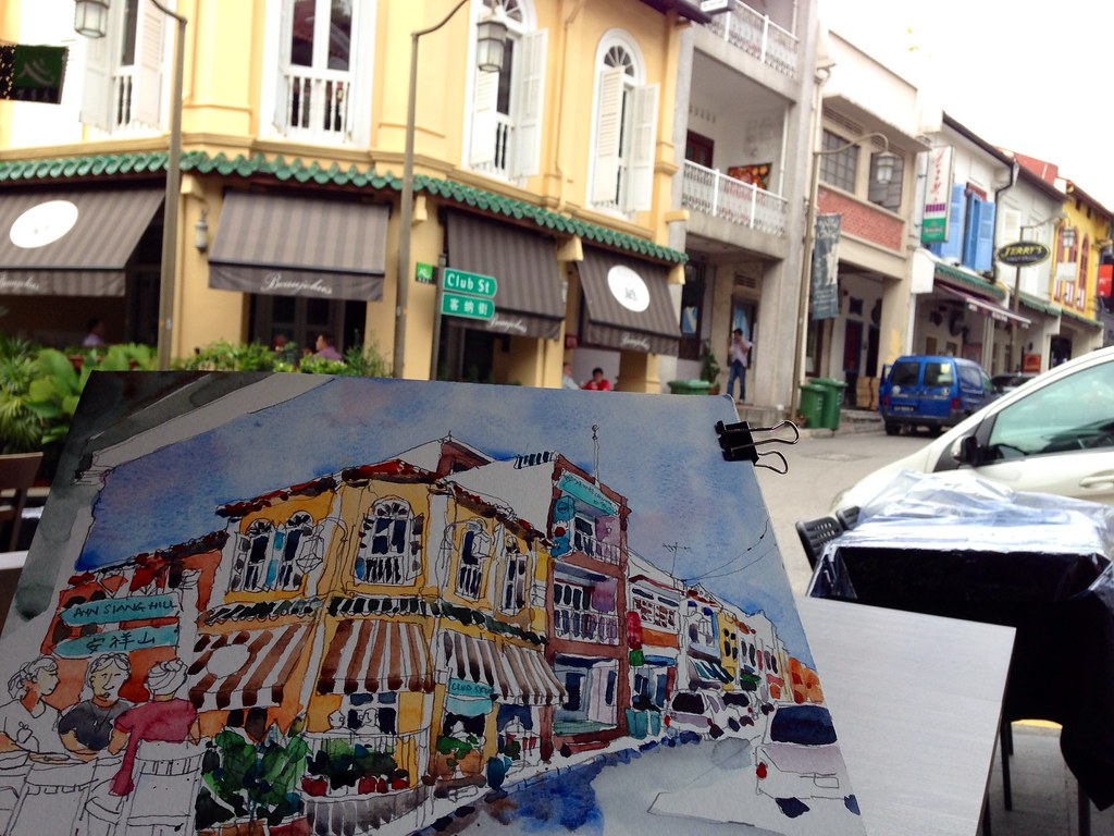 Club street, Singapore - Sketching with my Urbansketching ...