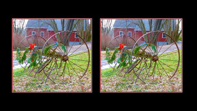 Old Farm Equipment Christmas Cross-eye 3D