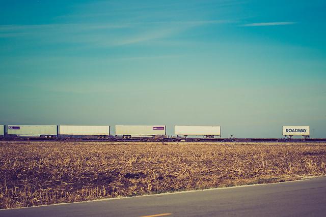 Train through cornfield