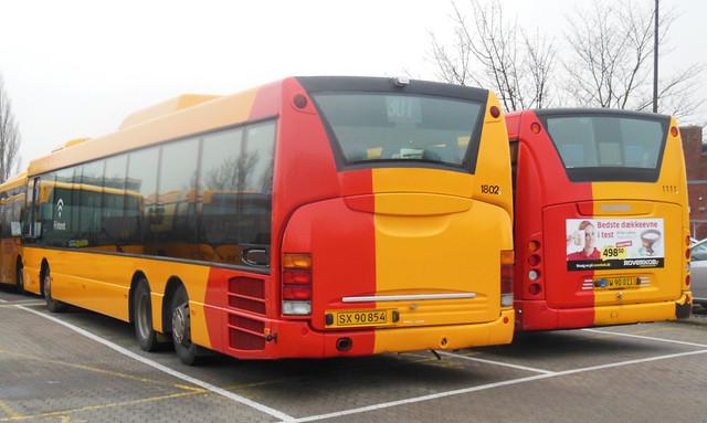 2003 v 2011 Scania OmniLink rear ends ARRIVA 1802 + 1111