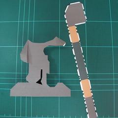 วิธีทำโมเดลกระดาษ ตุ้กตาไลน์ หมีบราวน์ ถือพลั่ว (Line Brown Bear With Shovel Papercraft Model -「シャベル」と「ブラウン」) 010