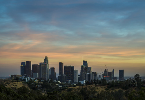losangeles california elysianpark angelspoint dtla la downtown sunset skyline twilight dusk clouds landscape city cityscape