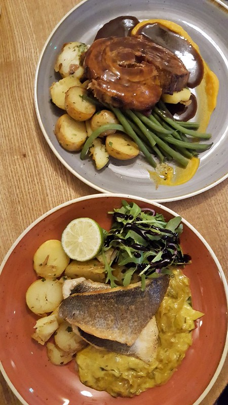 Delicious Mains - Braised Pork Belly & Grilled Seabass