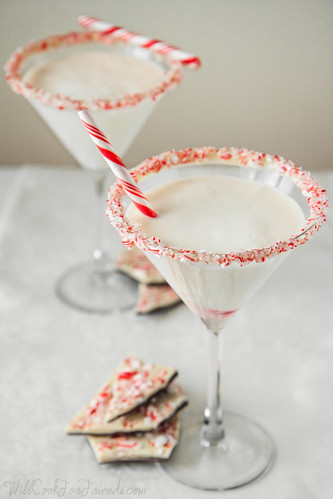 White Chocolate Peppermint Bark Martini, with Homemade Chocolate Liqueur | Will Cook For Friends | by WillCookForFriends