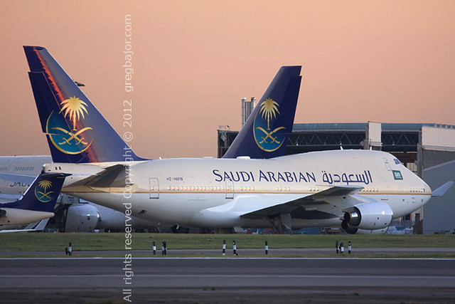 Fleet of Saudi Arabian aeroplanes - London Heathrow Airport