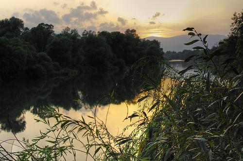 drava rivers mariborarea sunset reflection