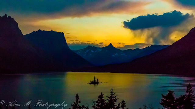 Stormy sunset at St. Mary Lake, Glacier N.P.
