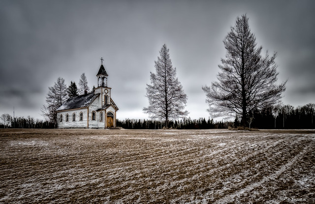 Church by the CPR tracks as I came into Upsala Ontario Canada.