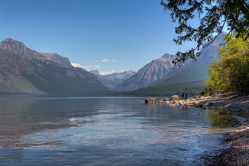 park sun mountain lake water montana day view unitedstates going clear national shore hdr mcdonald westglacier