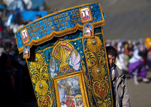 Devotee With Embroidered Banner During Qoyllur Riti Festival, Ocongate Cuzco, Peru
