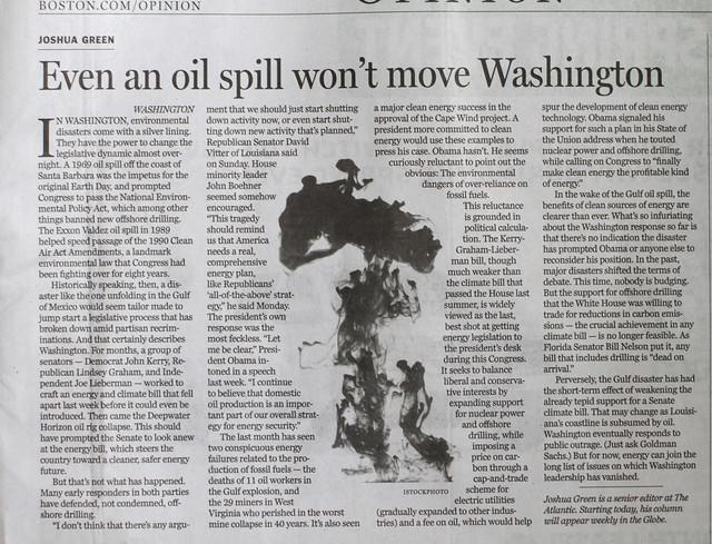 scrapbook: Even an oil spill wont move Washington (BP)