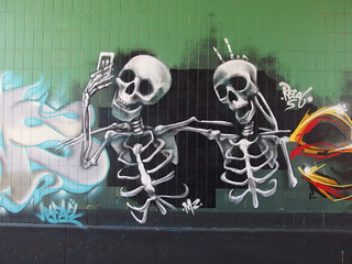 Skeletons taking a selfie @ Street art @ Walk along the Amstel canal @ Amsterdam | by *_*