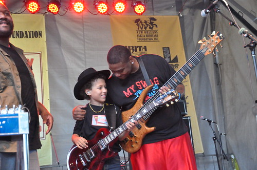 Young Brandon Niederauer joins the Lee Boys at Crescent City Blues & BBQ Fest 2013.  Photo by Kichea S Burt.