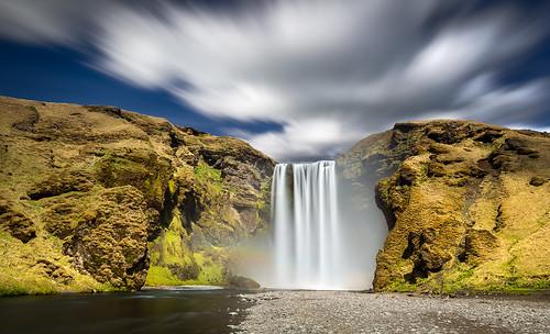 longexposure sky water clouds waterfall big rainbow wind lee foss stopper skogafoss skogarfoss islanti