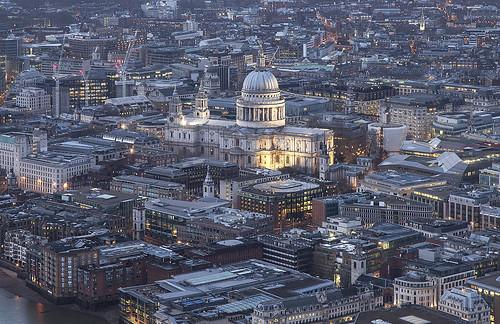 city uk england urban london twilight cathedral dusk stpauls aerial shard